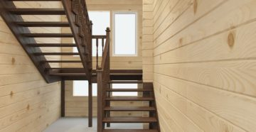 Лестница с площадкой на второй этаж деревянная